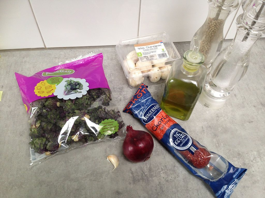 Flower sprouts with chorizo ingredients