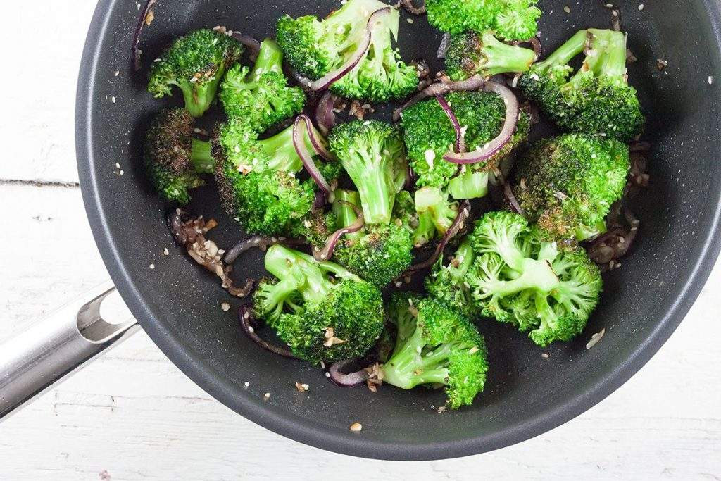 Pan-roasted broccoli with garlic