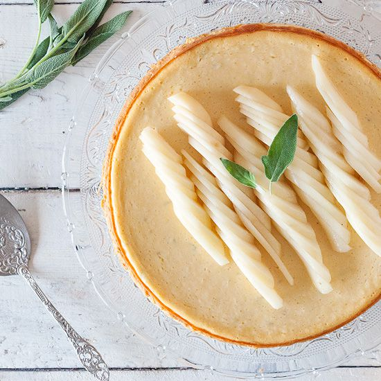 Pear and sage cheesecake