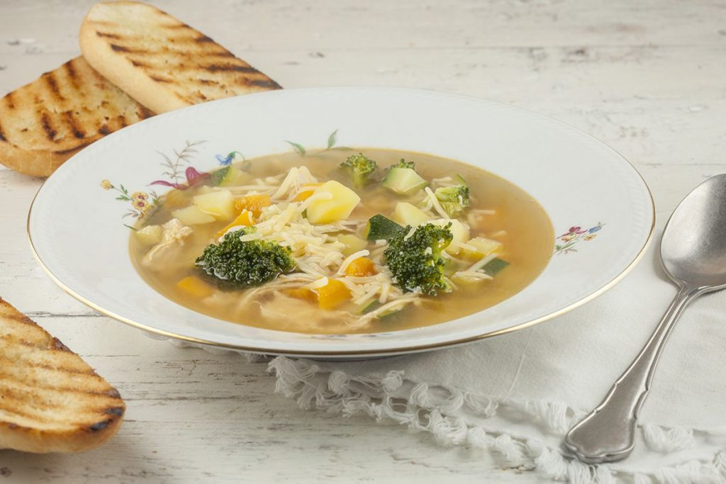 Spiced chicken and vegetable soup