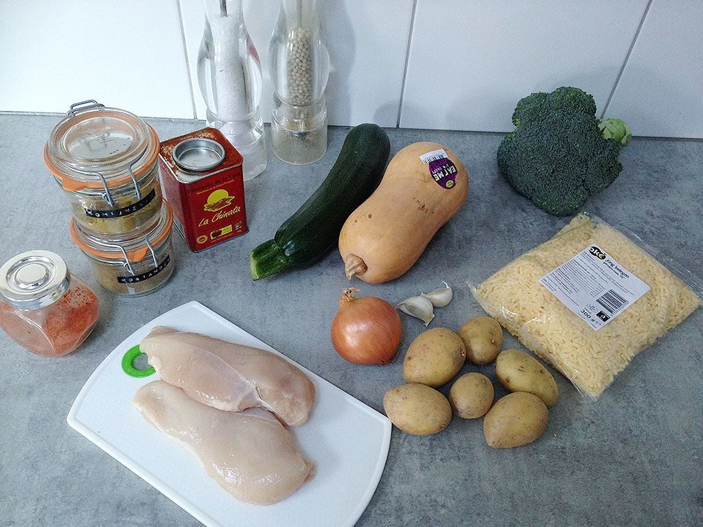 Spiced chicken and vegetable soup ingredients