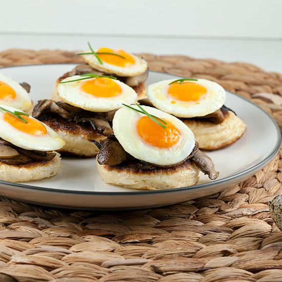 Blinis with chestnut mushrooms and quail eggs ingredients square - Blini's with chestnut mushrooms and quail eggs