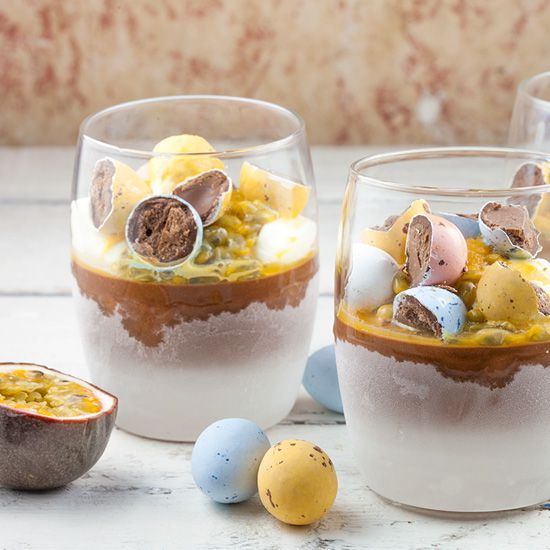 Chocolate parfait with passion fruit