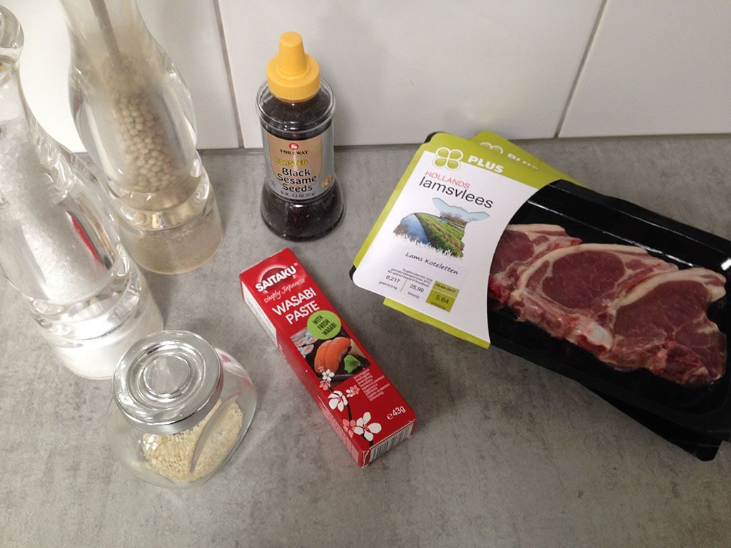 Wasabi and sesame lamb shoulder chop ingredients