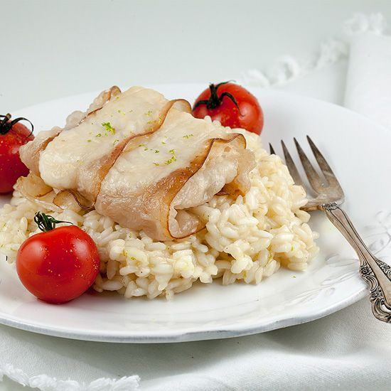 Bacon wrapped cod with lime risotto square - Bacon-wrapped cod with lime risotto
