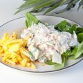 Fresh crayfish salad with pineapple chutney
