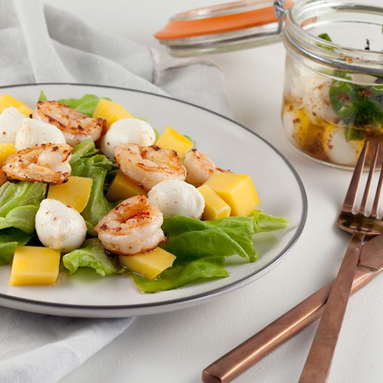 Shrimp salad with mango and mozzarella square - Shrimp salad with mango and mozzarella