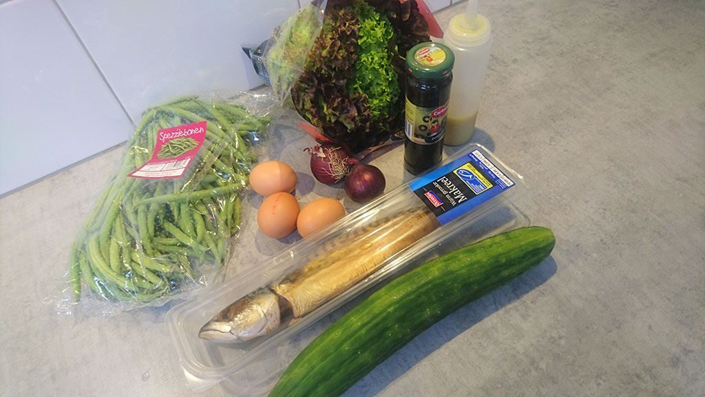 Smoked mackerel salad ingredients