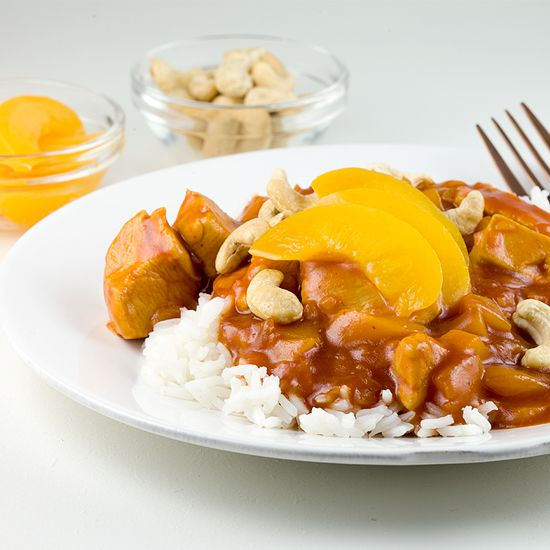 Chicken pilaf with peaches square - Chicken pilaf with peaches