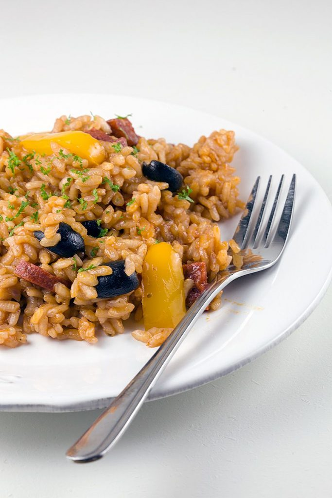 Chorizo and pepper risotto