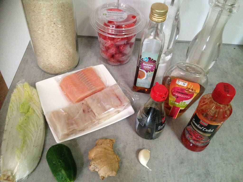 Salmon and coalfish rice salad ingredients