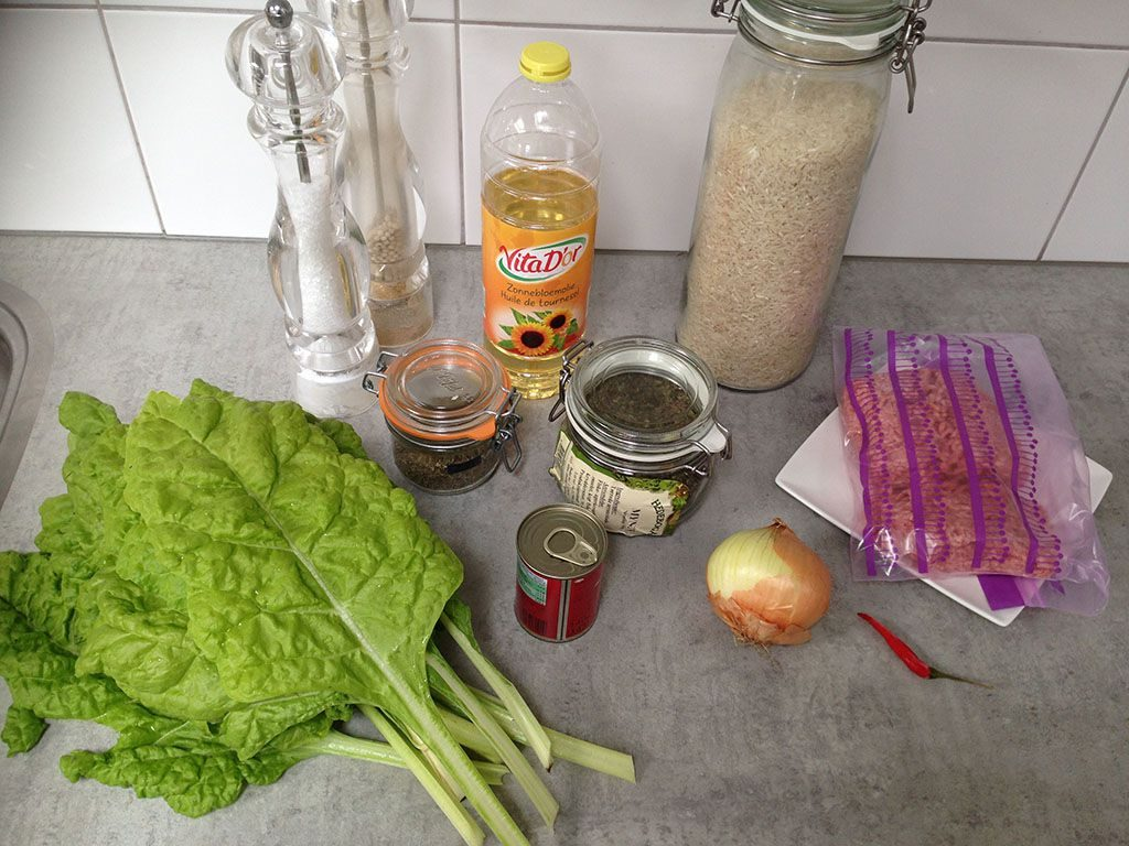 Swiss chard sarma ingredients