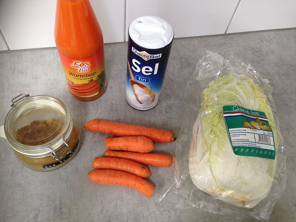 Fermented cabbage and carrot ingredients