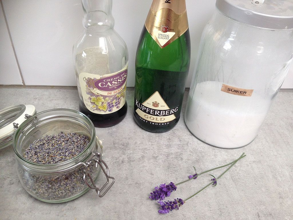 Lavender Kir Royal ingredients 1024x768 - Lavender Kir Royal