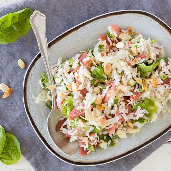 Rice salad with poached pears