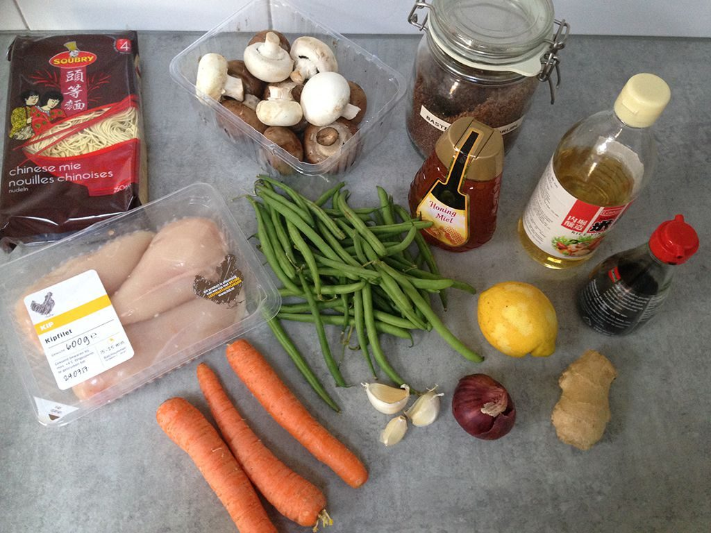 Teriyaki chicken and noodles ingredients