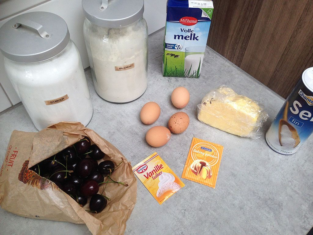 Cherry clafoutis ingredients 1024x768 - Cherry clafoutis