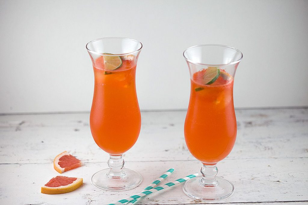 Grapefruit Aperol cocktail with lime