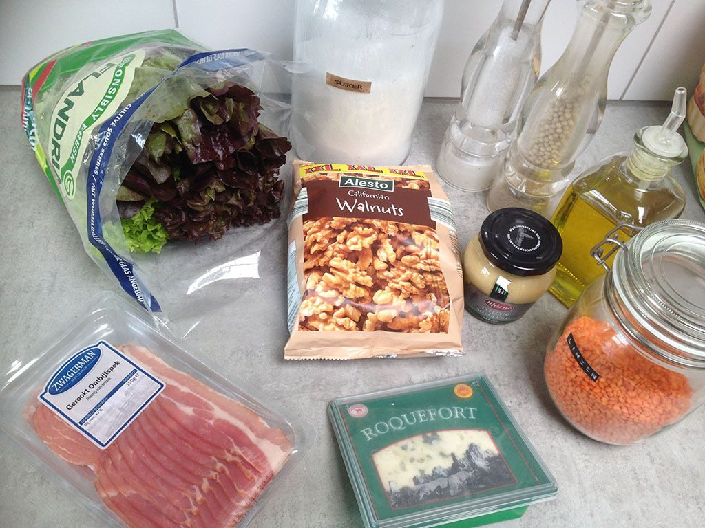 Autumn salad with bacon lentils and cheese ingredients 1024x768 - Autumn salad with bacon, lentils and cheese