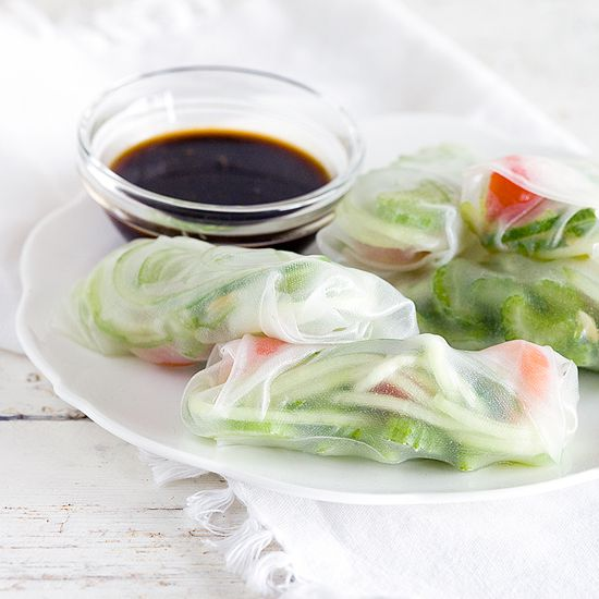 Celery and cucumber spring rolls