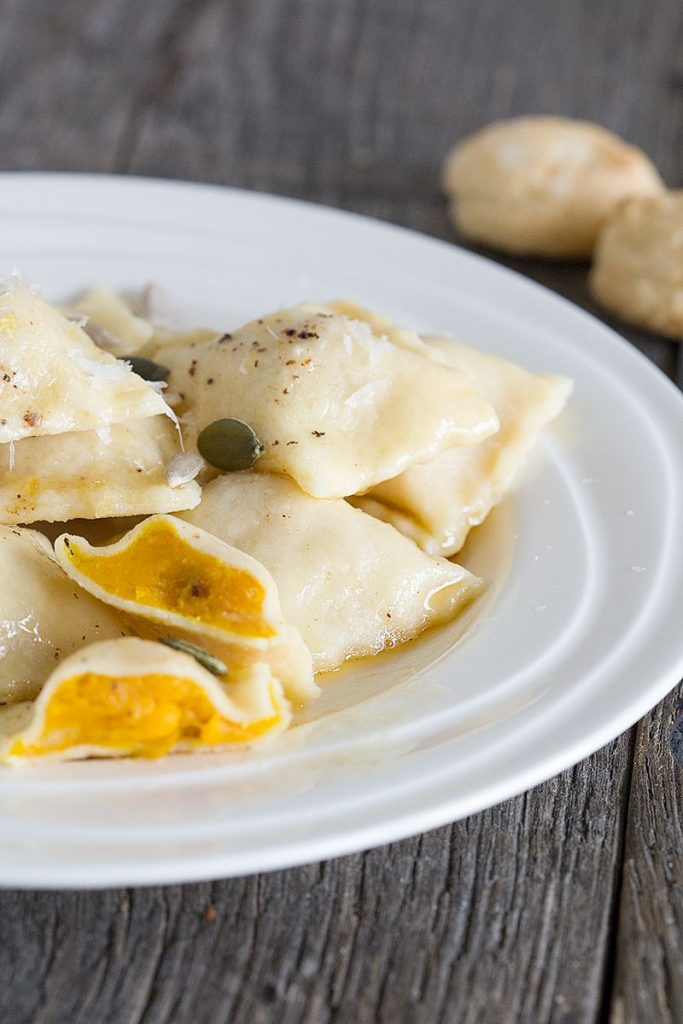 Pumpkin and amaretti ravioli