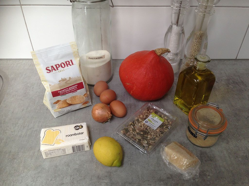 Pumpkin and amaretti ravioli ingredients