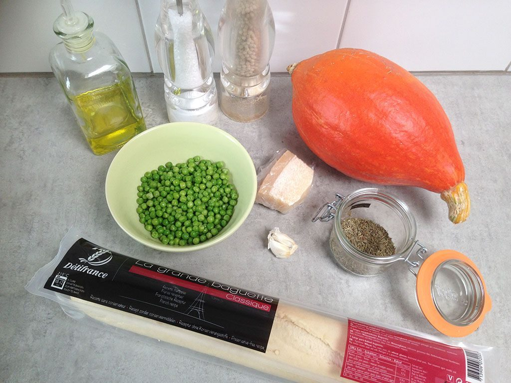 Pumpkin and peas bruschetta ingredients