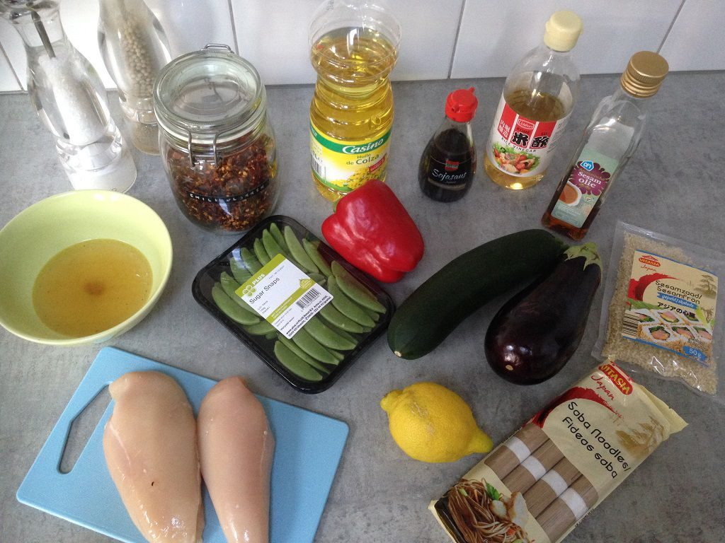 Sesame chicken and vegetable stir fry ingredients