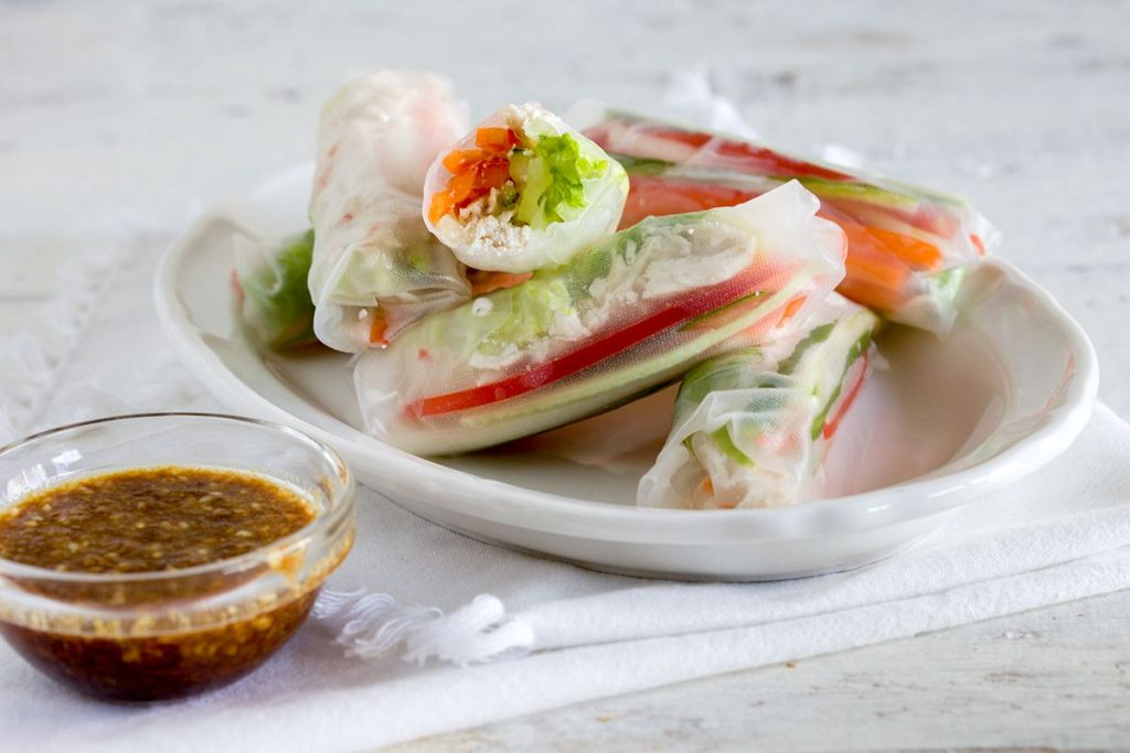 Chicken and sesame spring rolls