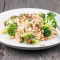 Creamy broccoli and chicken tagliatelle 120x120 - Chicken and pesto pasta with almonds