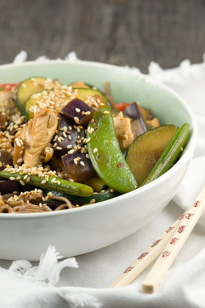 Sesame chicken and vegetable stir fry