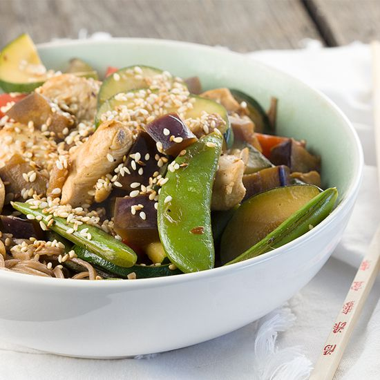 Sesame chicken and vegetable stir fry square - Sesame chicken and vegetable stir fry