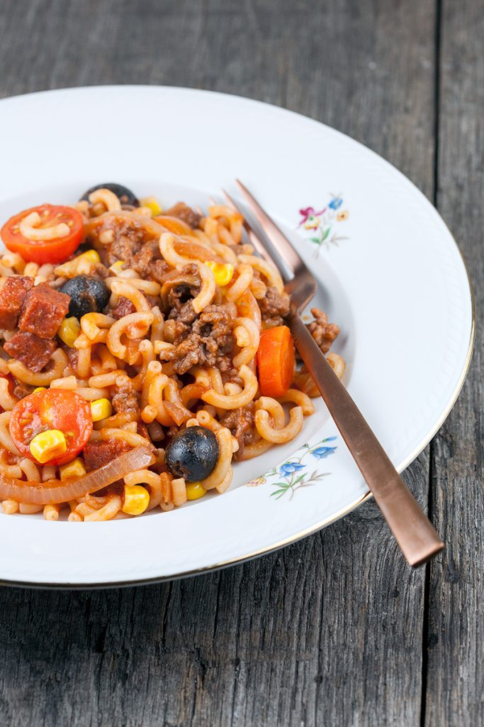 Chorizo and tomato macaroni