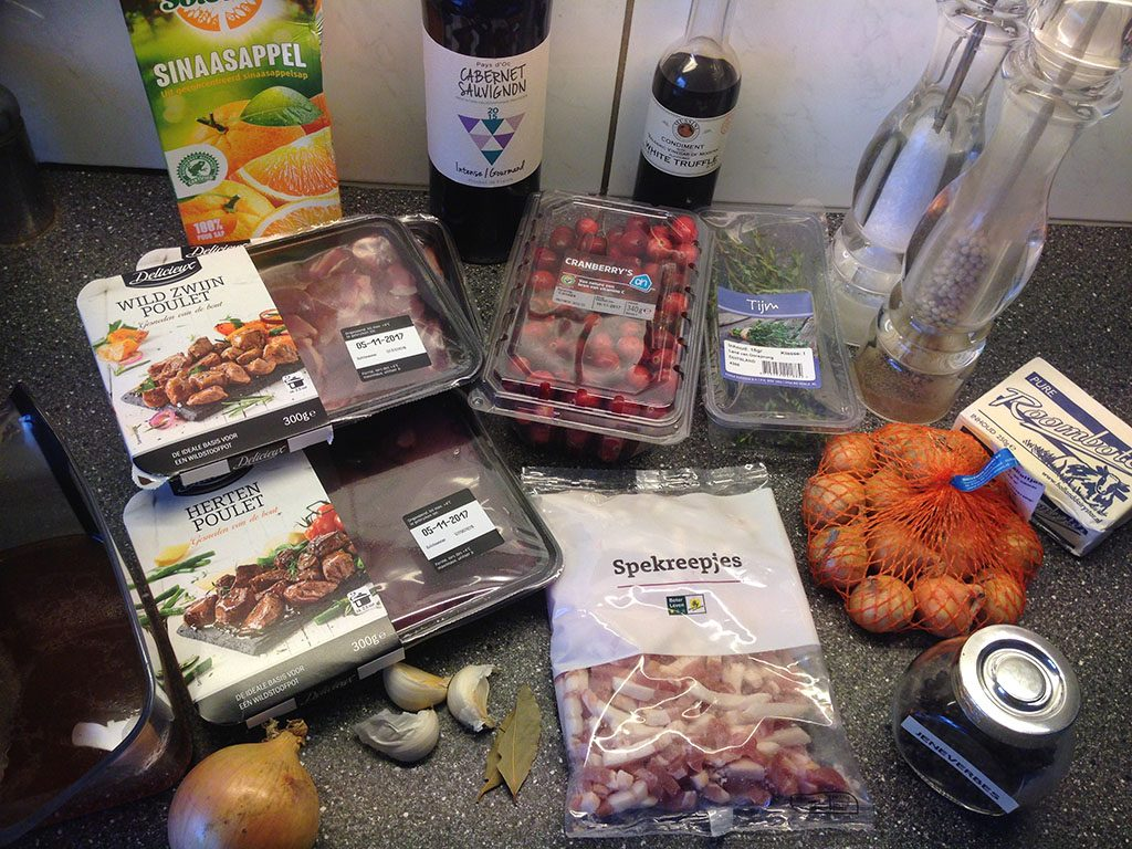Game ragout ingredients