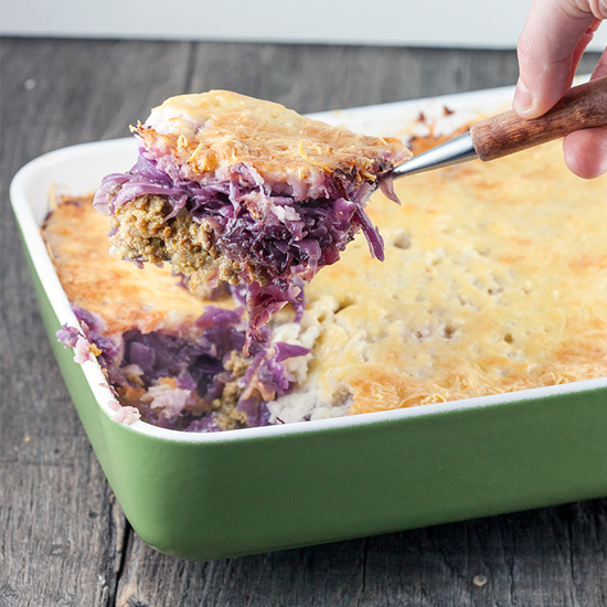 Oxheart cabbage, ground beef and celery root casserole