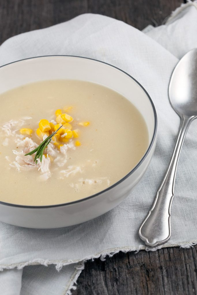 Roasted garlic soup with chicken and corn 2 683x1024 - Roasted garlic soup with chicken and corn