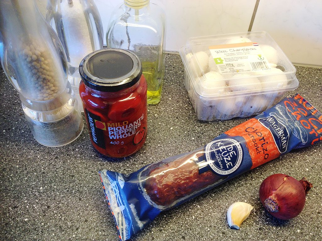 Stuffed peppadew peppers with chorizo and mushrooms ingredients