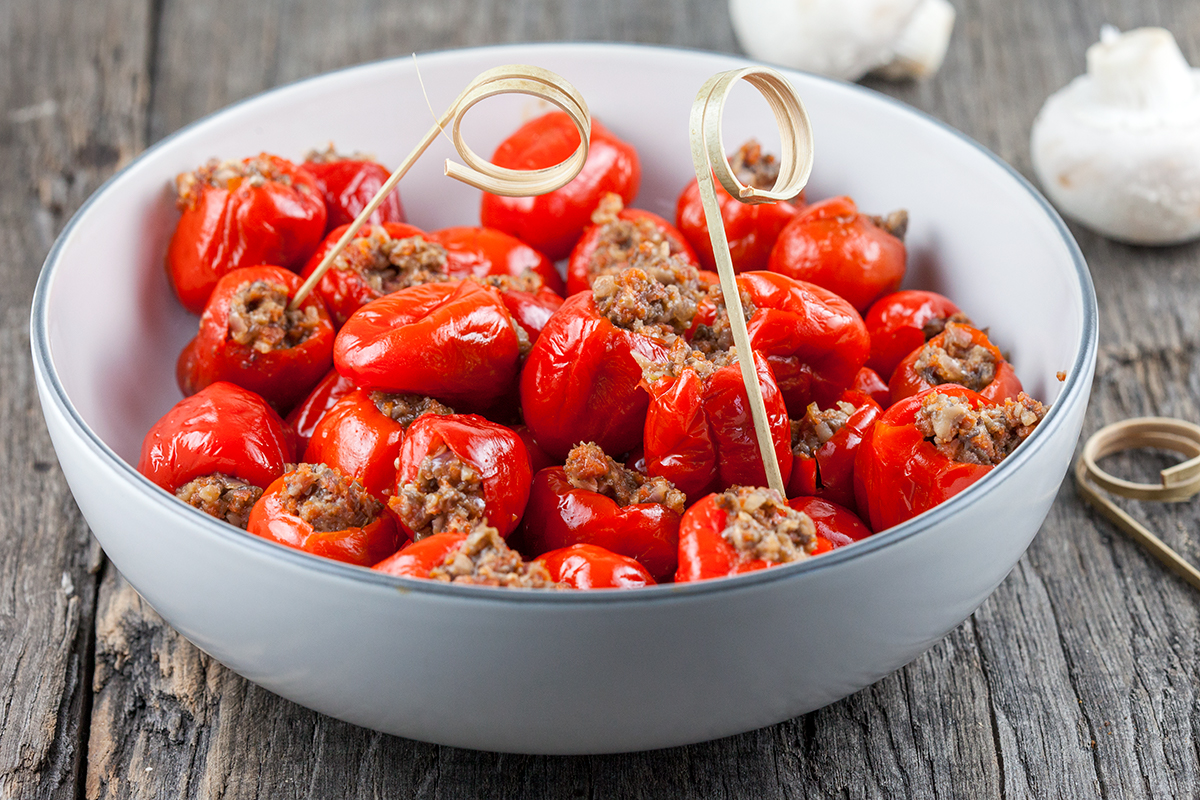 Stuffed peppadew peppers with chorizo and mushrooms