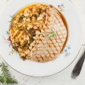 White bean stew with grilled veal 120x120 - Veal roast with tomatoes and rosemary