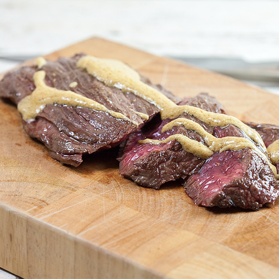 Bavette steak with mustard sauce square - Bavette steak with mustard sauce