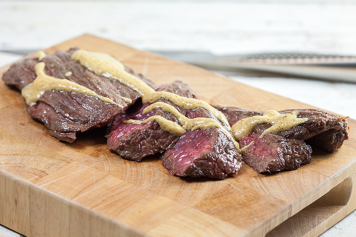 Bavette steak with mustard sauce