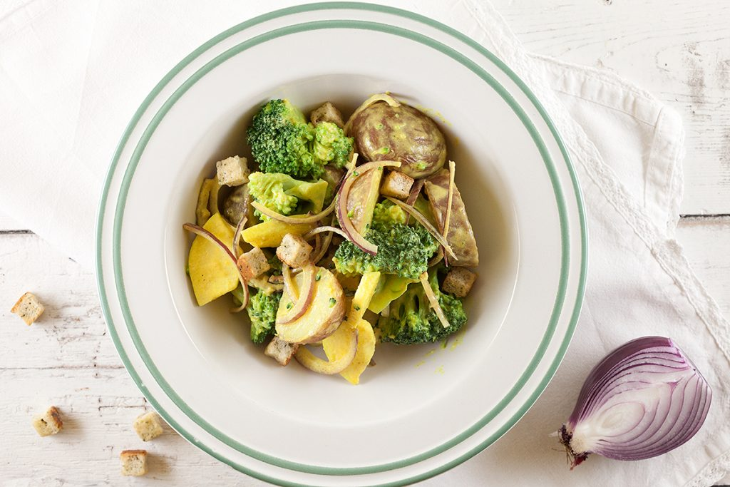 Curried red potato salad with broccoli