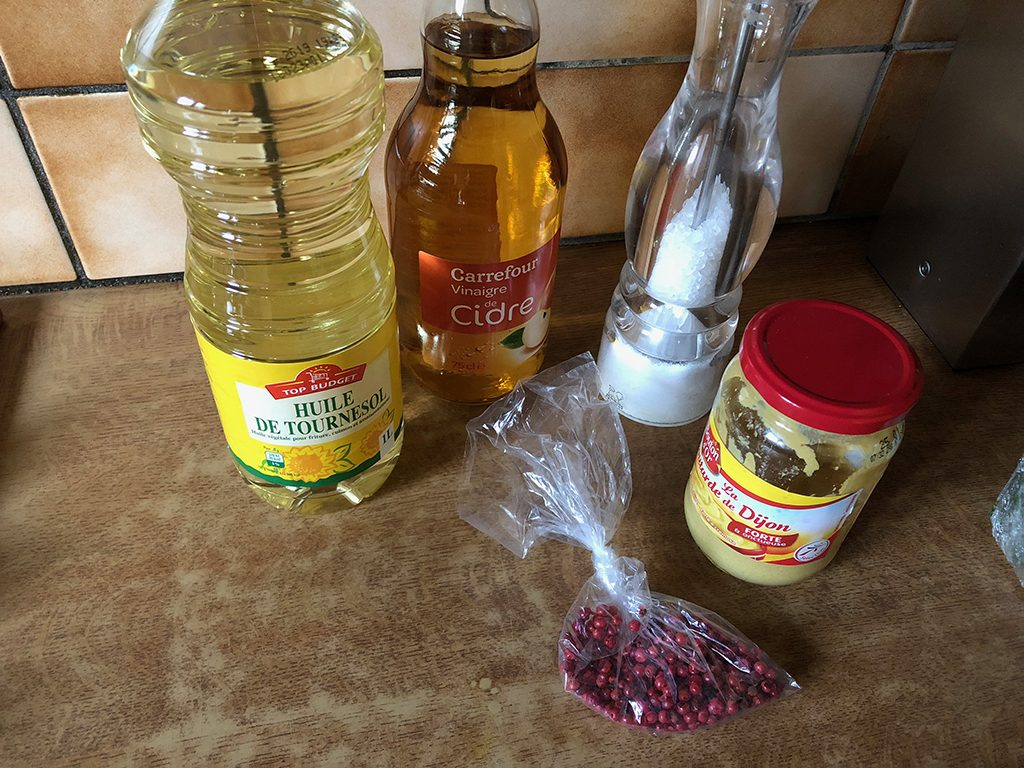 Salad with pink peppercorn dressing ingredients