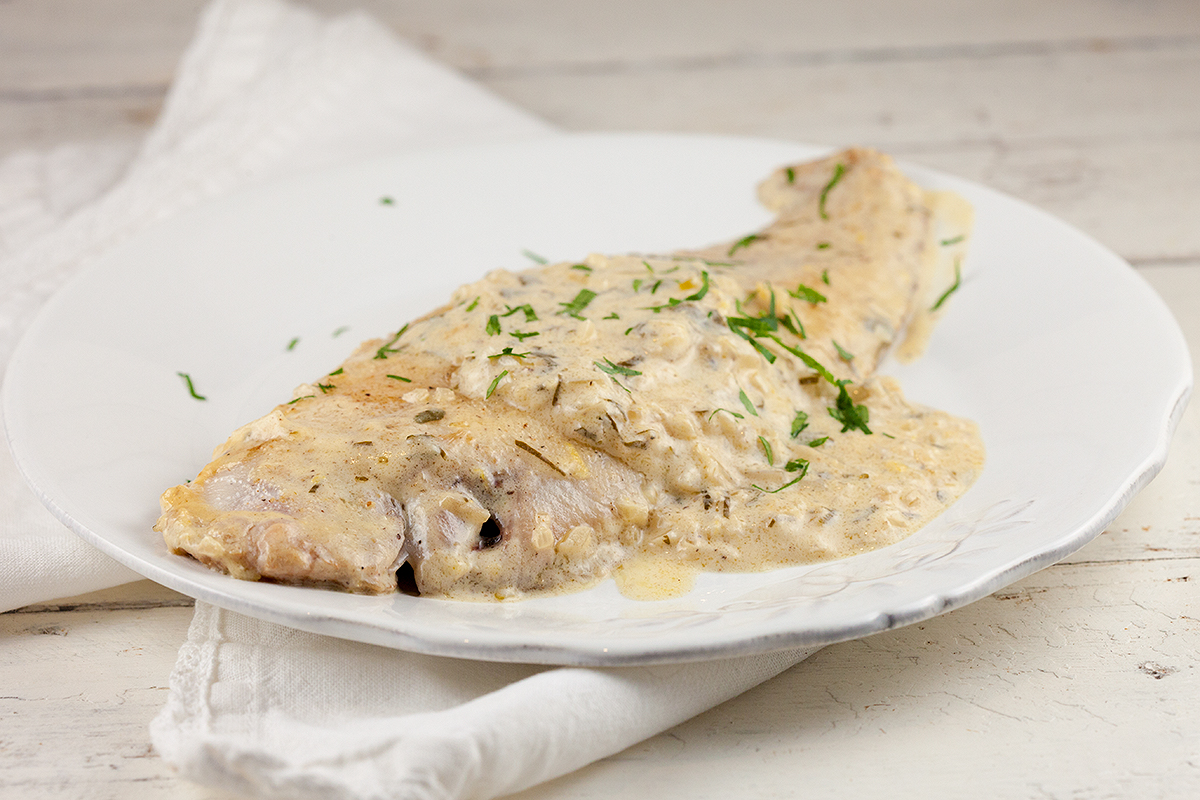 Sole fillet with cider sauce