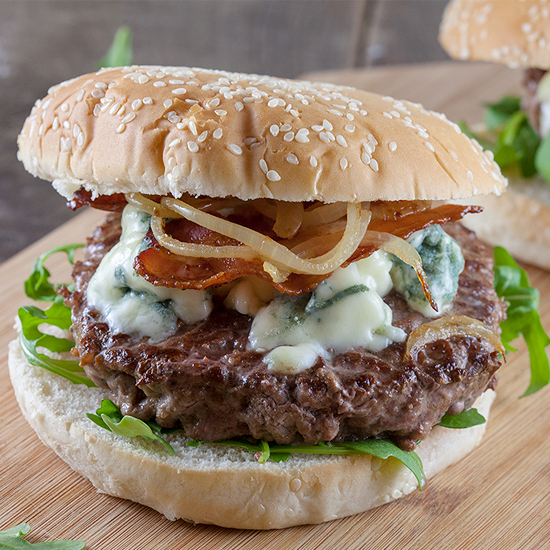 Blue cheese and bacon hamburgers square - Blue cheese and bacon hamburgers
