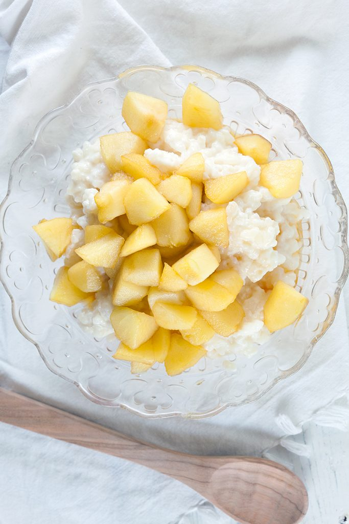 Easy apple rice pudding