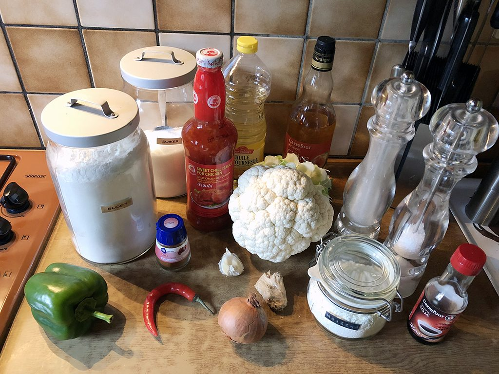 Gobi manchurian - Indian cauliflower ingredients