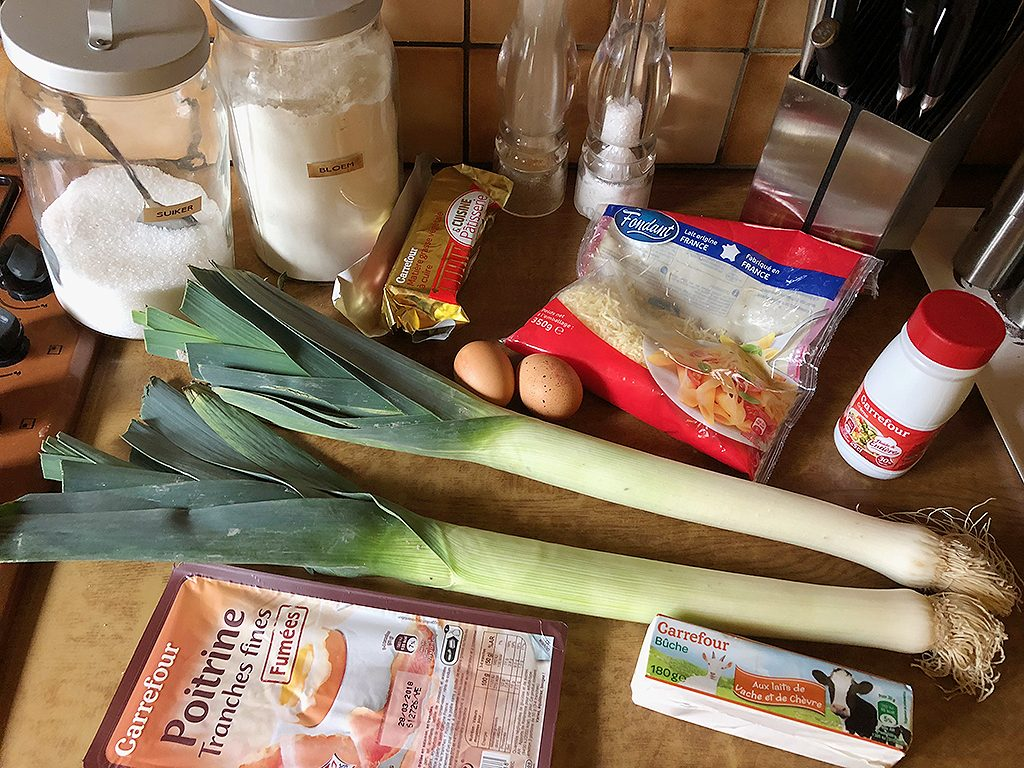 Leek and goat's cheese quiche ingredients