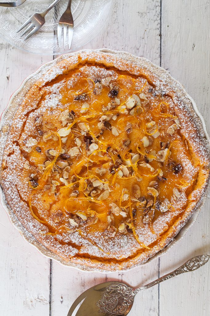 Pumpkin pie with candied orange and caramelised almonds