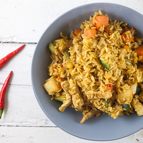 Quick nasi goreng with pork